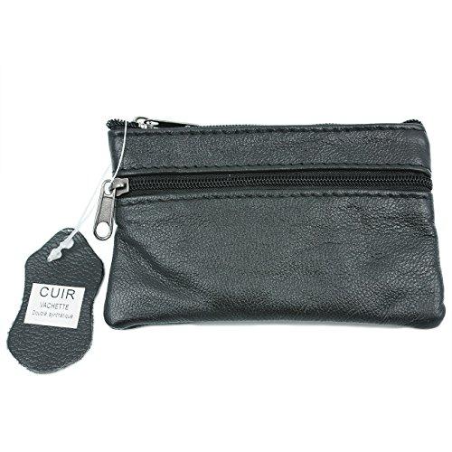 YEHMAN Porte-Monnaie Plat en Cuir véritable de Vachette pour Poche de Pantalon et Veste (Noir)