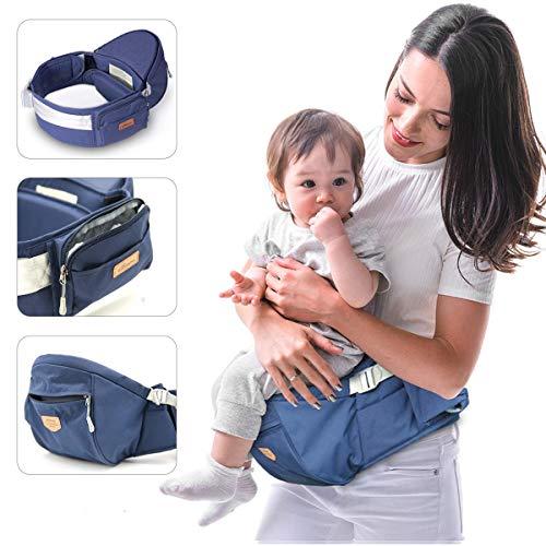 Baby-heupzithouder, baby-heupstoel met verstelbare riem en tas, baby-heupkruk praktische baby-voordrager voor 0-20 kg baby, blauw