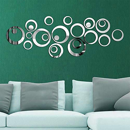 Acrylic Wall Stickers 3D Circles Mirror Decor DIY Wall Art Decals for Living Room Bedroom etc (Silver)
