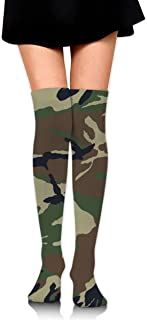 MKLOS 通気性 圧縮ソックス Breathable Cheerleader Over The Knee Plus Size Long Cotton Stretchy Thigh Stockings Army Camouflage 3D Print High Tube Socks Women Girl