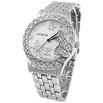 Fanmis Luxury Women s Classic Round Pearl Dial Stainless Steel Butterfly Quartz Wrist Watch  Silver