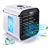 2020 Latest Personal Air Cooler, Portable Air Conditioner, Humidifier, Purifier, Aroma Diffuser 4 IN 1 Evaporation Cooler with 3 Speed, 7 LED Lights, Mini Cooling Desktop Fan for Camping Tent Office