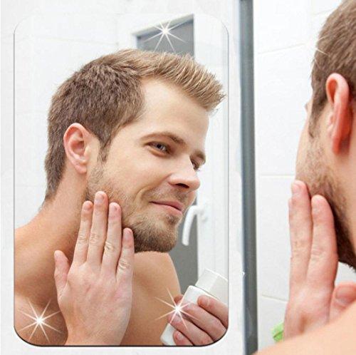 YJYdada Mirror Wall Sticker Rectangle Self Adhesive Room Decor Stick On Art Decor (Silver)