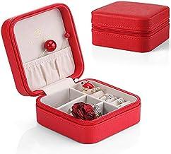 Vlando 正方形ジュエリーボックス ミニ宝石箱 携帯用 持ち運び トラベル ピアス ネックレス 指輪 リング アクセサリー 指輪置き ジュエリーバッグ(赤)