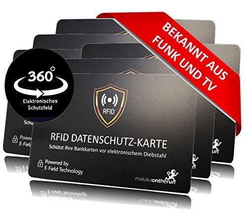 MakakaOnTheRun RFID - Carta di protezione per portafoglio, carta di credito e carte di credito, 0,8 mm, 6 pezzi