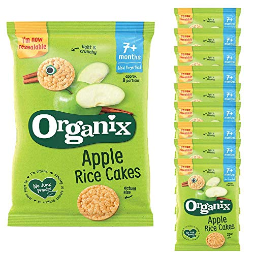 10 x 50g Organix Apple Rice Crackers Organic Snack Baby Food 7+ mnth Children