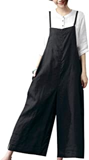YESNO Women Casual Loose Long Bib Pants Wide Leg Jumpsuits Baggy Cotton Rompers Overalls with Pockets PZZ