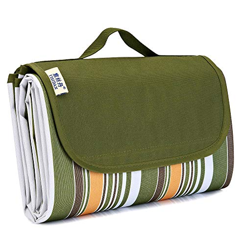 """zhurui Outdoor Picnic Blanket, Super Large Sand and Waterproof Portable Camping mat, Suitable for Camping and Hiking Holiday Lawn Park Beach mat (57""""×78.7"""", Army Green Stripes)"""