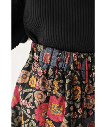 [フレンチパヴェ]cawaii花柄コクーンスカートレトロ変形ロングスカート秋冬ウエストゴム防寒あったか花柄ボリュームカジュアルポケット付き