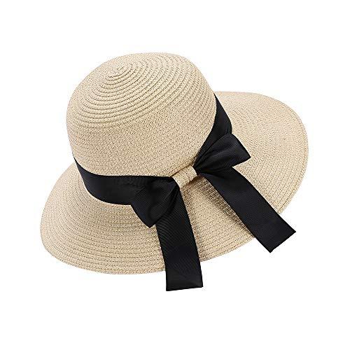 Eight Space Cappello da Sole da Donna,Cappello Estivo Pieghevole,Elegante Cappello di Paglia a Tesa...