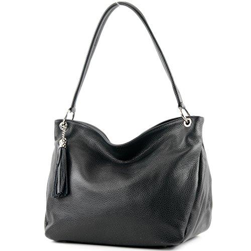 modamoda de - T154 - ital Schulter-/Umhängetasche aus Leder, Farbe:Schwarz