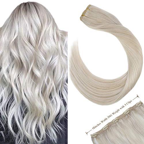 Ugeat 22zoll/55cm Echt Haar Extensions Clip Haarverlangerung 3/4 Full Head Double Weft mit 5 Clips Ein Stuck 50Gramm/Paket (Platinblond #60)