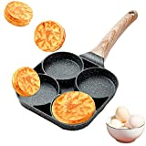 GUANGE 4-Cup Egg Pans Nonstick, Pancake Pan with Wooden Handle, Poached Egg Pan,...