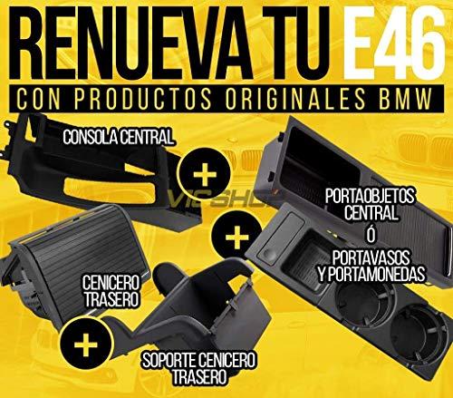 Oferta Pack renueva tu E46 - Consola central + Cenicero trasero + Soporte cenicero trasero + Porta-vasos/monedas/objetos Completo con portavasos/portamonedas