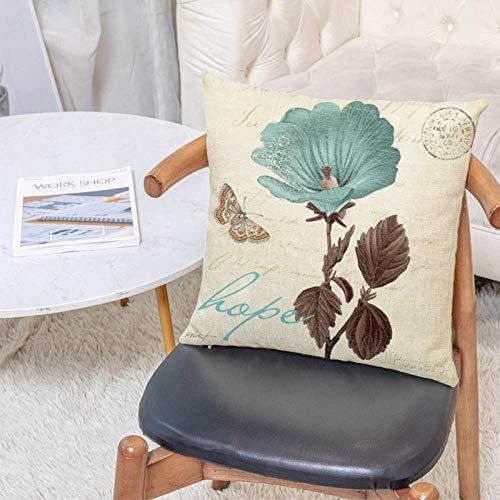 SFDGBTH Funda de Almohada Decorativa de la Mariposa de la Flor de la Vendimia, 18 x 18 Pulgadas, cojín de Lino Cubierta de Almohada Cuadrada, Adecuado para la decoración del hogar del sofá de Coche