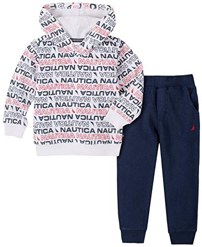 Nautica Boys' 2 Pieces Hooded Pullover Pants Set, Print/Blue, 3T