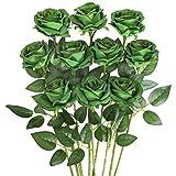 Luyue Artificial Silk Rose Flower Bouquet Wedding Party Home Decor, Pack of 10-Dark Green