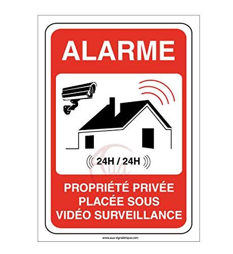 AUA SIGNALETIQUE - Autocollant propriété privée sous Alarme vidéo Surveillance 24H /24-75x105 mm, Vinyl adhésif