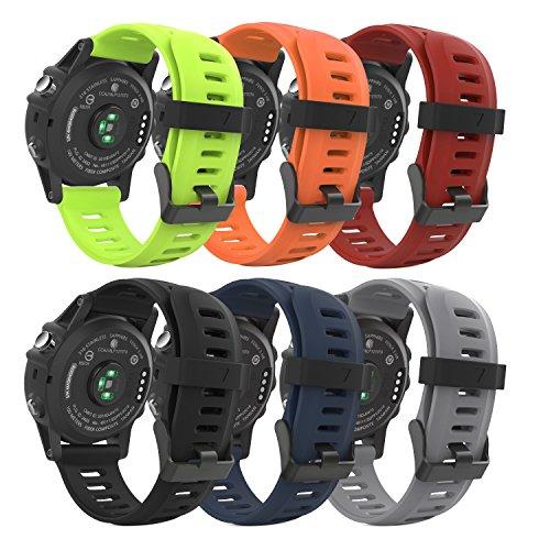 MoKo Pulsera para Fenix 6X/6X Pro, Fenix 3/Fenix 3 HR/Fenix 5X/5X Plus, [6-Pzs] Correa Pulsera de Silicona Respirable y Reemplazable, Banda de Reloj Deportivo con Cierre - Multicolor 1