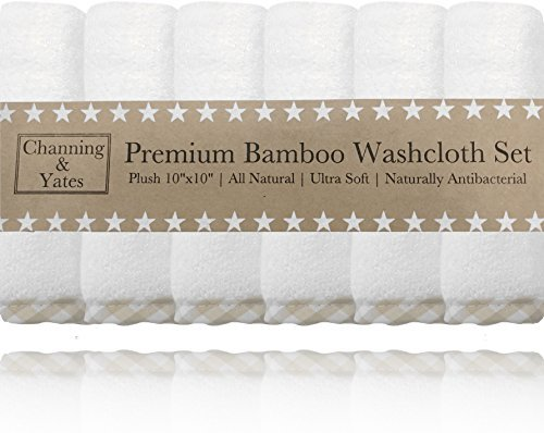 Premium Baby Washcloths - (6 Pack) Certified Organic Baby Wash Cloths by Channing & Yates - Soft Bamboo Face Towels - 10 x 10in - Bath Washcloths Eczema - Adult Washcloths (Beige / White)