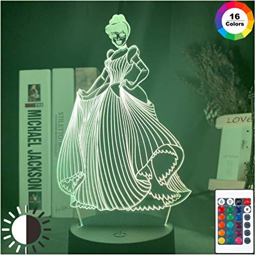 Prinzessin Cinderella 3d illusion lampe 16 Farben Ändern Remote Nachtlicht für mädchen Schlafzimmer Dekoration Led Nachtlicht