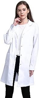 Bata de Laboratorio, médico Abrigo Abrigo de Mujer, Abrigo Blanco para Damas, Adecuado para Estudiantes de la Escuela Laboratorio de Ciencia Enfermera Cosplay Vestido de algodón