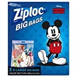 Ziploc N/A Disney Mickey Mouse Extra Large Big Bags - 3ct. (2 PACK), Clear, 7.5 inches (H) x 8.94 inches (W) x 1.5 inches (D)