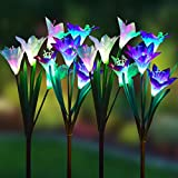 Wohome Outdoor Solar Garden Stake Lights,4 Pack Solar Powered Lights with 16 Lily Flower , Multi-Color Changing LED Solar Landscape Lighting Light for Garden, Patio