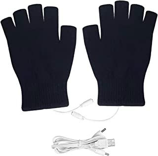 Camidy 1Pair USB Heated Gloves Winter Full Half Fingers Mittens Knitted Cold Weather Warm Gloves For Adults Men Women