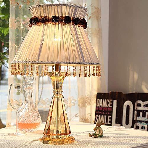 WSJTT Lámpara de escritorio de cristal lámpara de mesa creativa lámpara de mesa de boda creativa lámpara de mesa tela dormitorio europeo lámpara de mesa K9 cristal hecho a mano lámpara de mesa