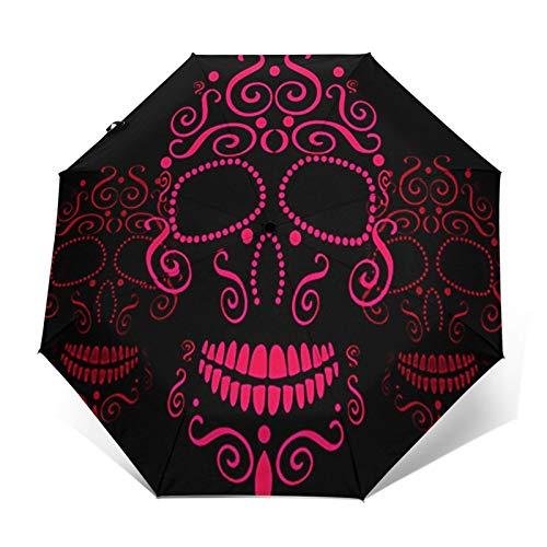 Windproof Travel Folding Umbrella Automatic Skull Fashions Tattoo Candy, Large Rain Folding Compact Umbrella Portable Fast Drying with Auto Open Close Button