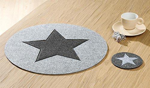 Gilde Dessous de Verre Rond en Feutre Motif étoile Gris foncé 10 cm