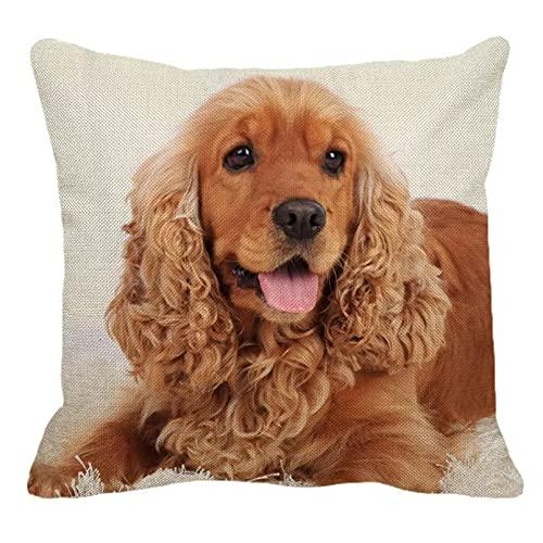 Funda Cojine Funda Almohada sofá Decorar Cocker Spaniels funda de almohada para el hogar sofá funda de almohada cuadrada bonito patrón de animales funda de cojín decorativa 45X45cm decor regalo