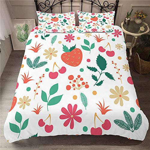 CGZLNL Microfiber Duvet Cover Set fruit 78.7x78.7 inch Easy Care Anti Allergic Soft & Smooth Bedding Set +2 Pillow Cases 19.7 X 29.5 inch