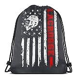 Lmtt Mochila con cordón Deportes Gimnasio Mochila Bolsa de viaje Lacrosse Bandera americana