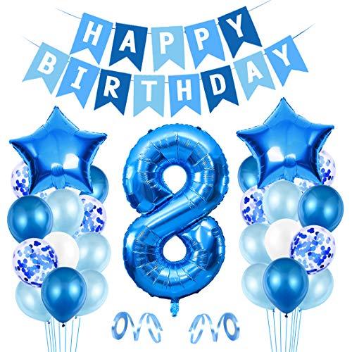 8er Cumpleaños Bebe Globos Decoracion, Globos Numeros 8 Decoracion, 8 año Cumpleaños Decoración Niño, Globos de Confeti de Latex Boy Ballon Party Cumpleaños 8 Año