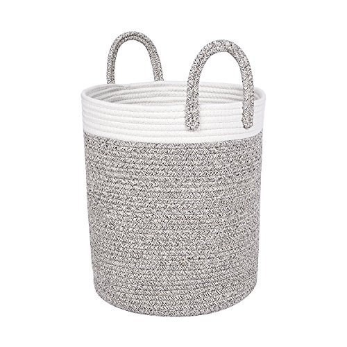 """West Dwelling Woven Cotton Rope Storage Basket - Medium-sized 13"""" W x 15"""" H Natural Home Decor Baskets for Organizing Blankets, Towels, Laundry, Toys - Heather"""
