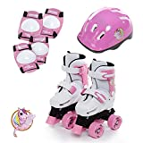 Sk8 Zone Girls Unicorn Design Pink White Adjustable Quad Skates Kids Padded Roller Boots Childrens Safety Pads Helmet Skate Set Size 9-12