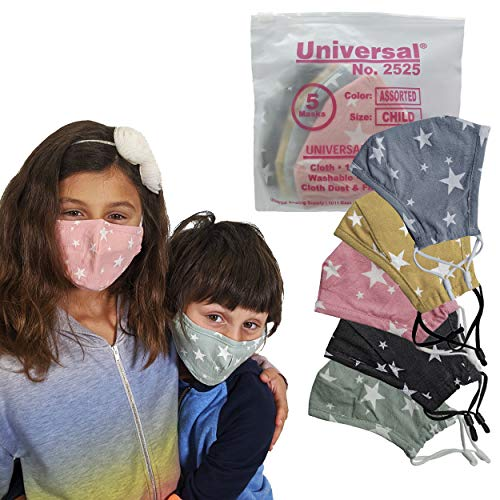 Universal 2525 Cloth Face Masks for Kids – 5 Color Assortment – Washable & Reusable Facemask for Nose & Mouth – 100% Cotton, 2 Layer Protection from Dust, Pollen, Pet Dander & Other Irritants