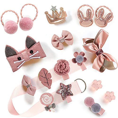 Baby Girls Hair Accessories Clips Ties Fully Covered Bows with Hanger Set, babies barettes for Infant and Toddlers fine hair 18pcs (Korea Pink)