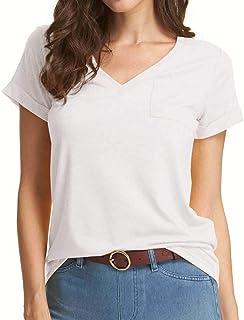 Loose Fitting V Neck Tshirts for Womens Short/Long Sleeve Basic Tees Pocket Tops
