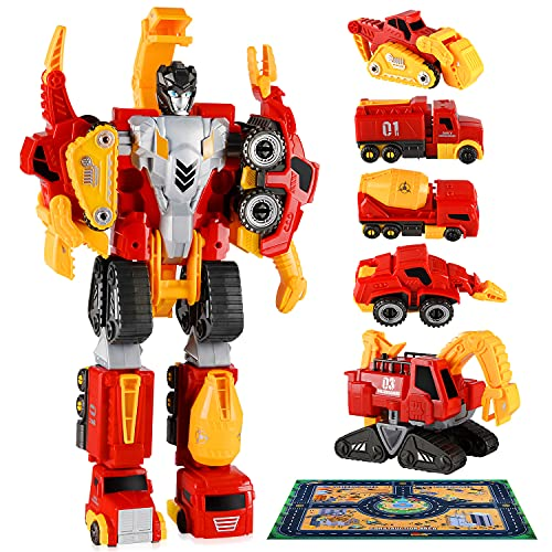 HONYAT 5 in 1 Transformers Toys with Play Mat for 3 4 5 6 7 Year Old Boys and Girls|Robot Action Figures|Construction Toys|Dinosaur Toys|STEM Toys|Gifts for Kids