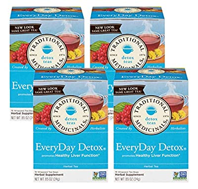 Traditional Medicinals Everyday Detox Herbal Wrapped Tea Bags - 16 ct (Pack - 4) from Traditional Medicinals