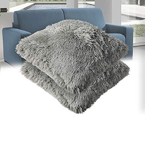 Casaviva Set 2 cuscini pelliccia ecologica completi extra imbottitura maxi formato cm 50x50 cuscini pelosi eleganti e moderni per divano e decorazione in caldissimo PV fleece di alta qualità (Grigio)