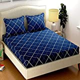 Just Muralidhar & Sons Pure Cotton Double Bedsheet with 2 Pillow Covers for Bed Room, Home, Hotel, (Multi Color 16)