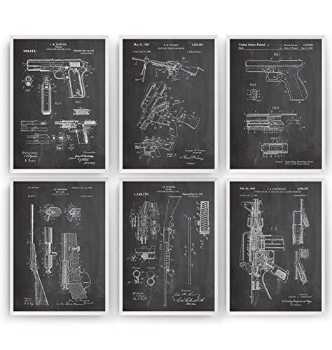Gun Patent Poster - Set Of 6 - M16 1911 Shotgun Bolt Gun AR15 Glock - Jahrgang Bild Drucke Kunst Geschenke Zum Männer Frau Entwurf Dekor Art Blueprint - Rahmen Nicht Enthalten