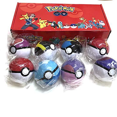 Wmai 8Piezas DeFiguras DePokeball, JuguetesOriginales DePokemon, Bola con Figura,  Juguetes De Modelo para Niños con Caja De 7 Cm