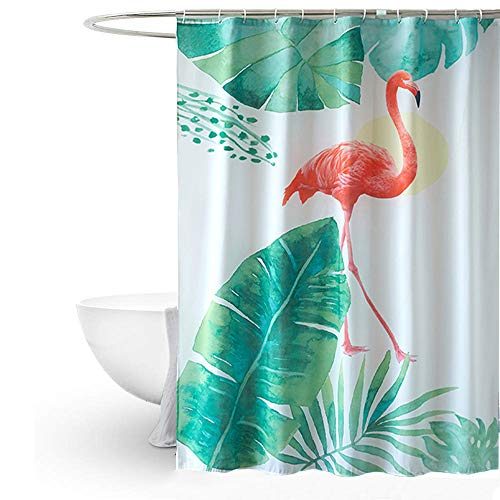 MYQIANG Flamingo Duschvorhang Anti-Schimmel Textil Waschbar Grünes Tropical Palm Blätter Polyester Wasserdicht Duschvorhang für Badewanne 180x180cm mit Vorhanghaken