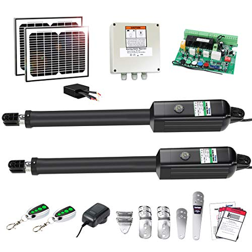 TOPENS AD5S Automatic Gate Opener Kit Medium Duty Solar Dual Gate Operator for Dual Swing Gates Up...