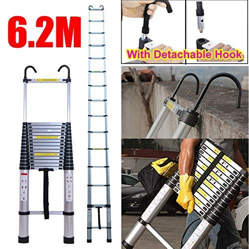 Escalera de aluminio extensible de 6 m con gancho de seguridad desmontable EN131, patas de goma antideslizantes, portátil, 150 kg de capacidad máxima, resistente y extensible, 15 peldaños